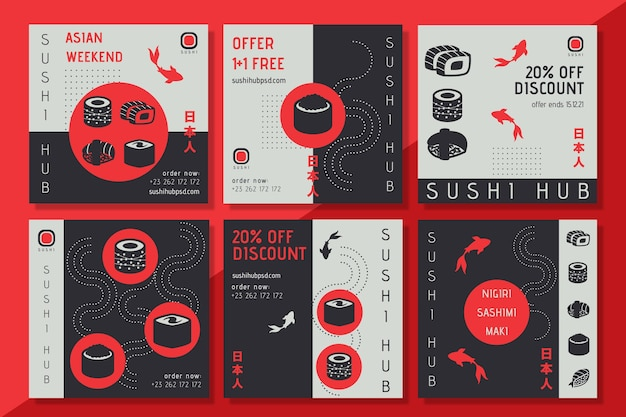 Modello di post instagram sushi hub
