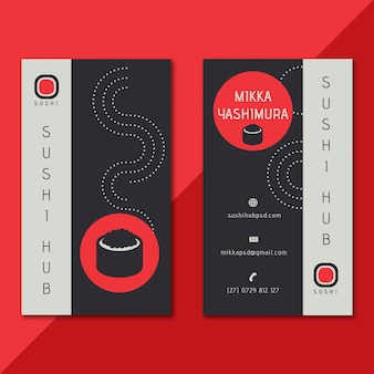 Sushi hub vertical double-sided business card template