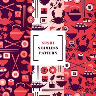 Sushi icons in seamless pattern,  illustration. symbols of traditional asian cuisine, seafood and tea