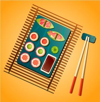 寿司のイラスト。アジア料理レストランのコンセプトです。巻き寿司、刺身、醤油、わさび、箸。日本の食べ物。トレンディなカラーパレットでフラットメニューデザイン。