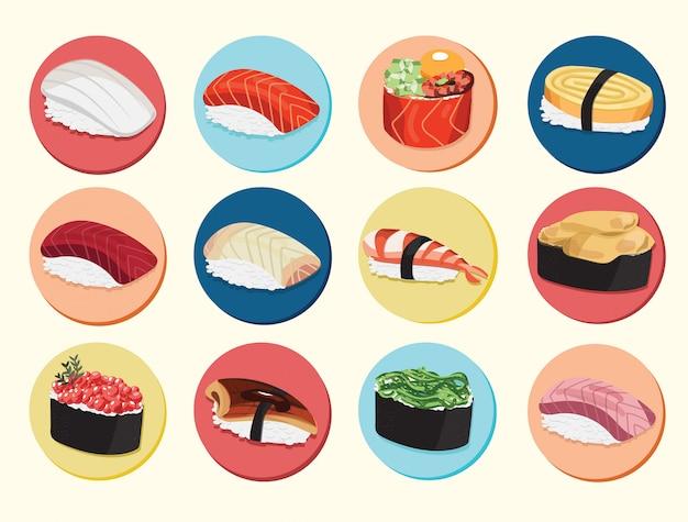 寿司日本食品アイコンサーモンロール皿アイコン
