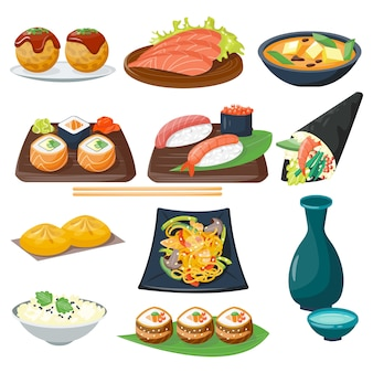 Sushi japanese cuisine traditional food flat healthy gourmet icons and oriental restaurant rice asia meal plate culture roll.