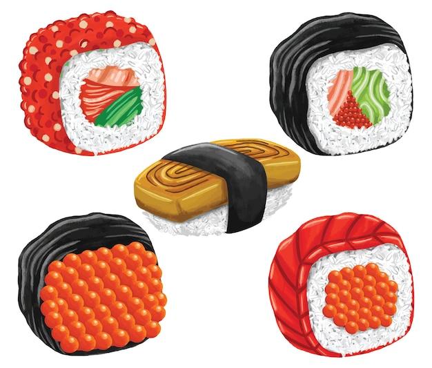 Суши японская еда в плоском стиле дизайна