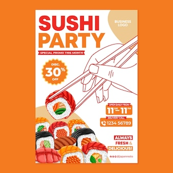 フラットなデザインスタイルの寿司日本食ポスター