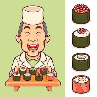 요리사 캐릭터와 초밥 일본 음식