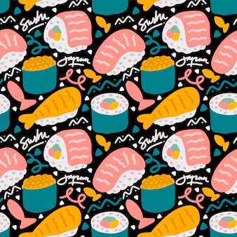 Sushi japanese street food seamless pattern