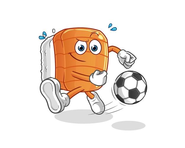 Sushi kicking the ball cartoon. cartoon mascot