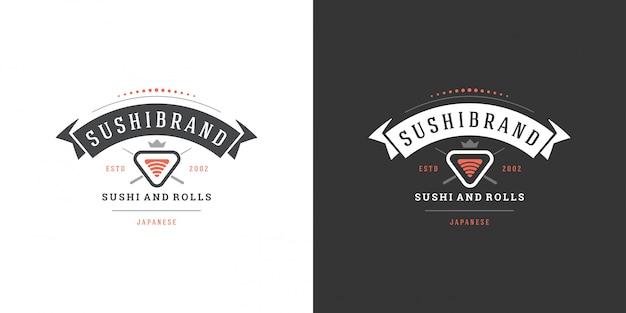 寿司サーモンの寿司ロゴとバッジ日本食レストランロールアジアキッチンシルエットベクトル