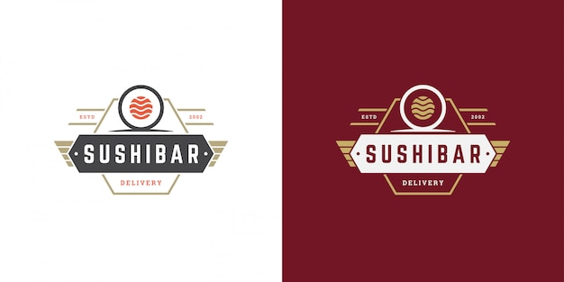 寿司のロゴとバッジの日本食レストラン、寿司サーモンロールアジアのキッチン