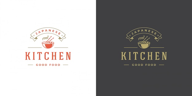 Sushi logo and badge japanese food restaurant with ramen noodle soup asian kitchen silhouette