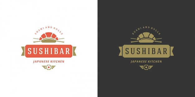 Sushi logo and badge japanese food restaurant with salmon sashimi asian kitchen
