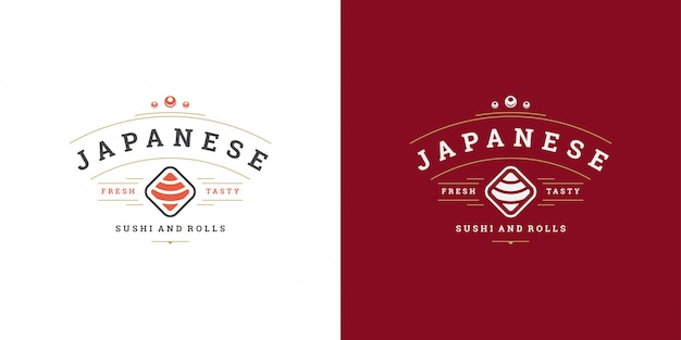 Sushi logo and badge japanese food restaurant with sushi salmon roll asian kitchen silhouette