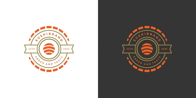 Sushi logo and badge japanese food restaurant with sushi salmon roll asian kitchen vector illustration