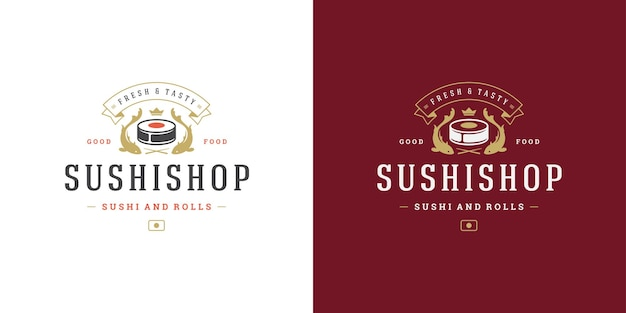 Sushi logo and badge japanese food restaurant