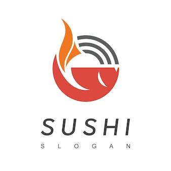 魚のシンボルと寿司のロゴデザイン