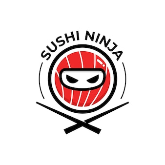 Sushi logo with ninja face mask mascot cartoon logo