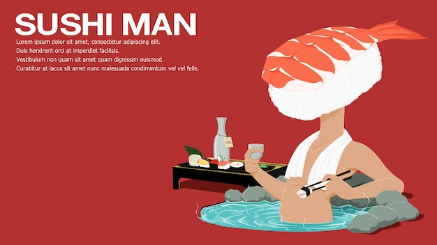Sushi man is relaxing in the hot spring