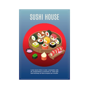 Sushi menu, asian food at japan house restaurant,  illustration. drawing roll, fish, rice, vegetable and seafood banner.