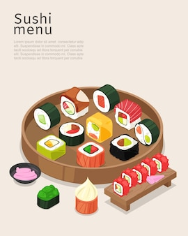 Sushi menu, asian food with rice poster  illustration. cooking restaurant roll with salmon on bright background, bar cuisine