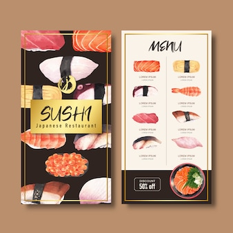 Sushi menu collection for restaurant. template with food watercolor illustrations.