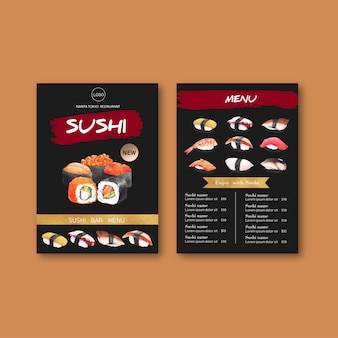 Sushi menu collection for restaurant.