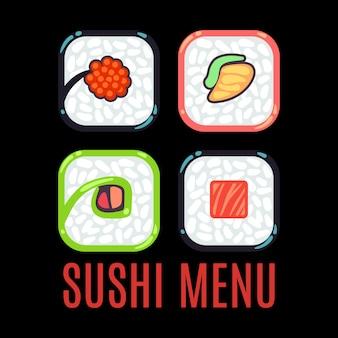 Sushi menu food logo vector template black