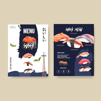 Sushi menu for restaurant.