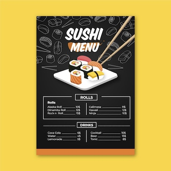 Sushi menu template with chopsticks