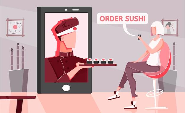 Composizione piatta online di sushi con scenario domestico e personaggio femminile che ordina cibo asiatico con lo schermo dello smartphone