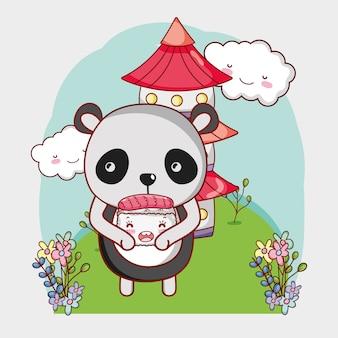 Sushi and panda kawaii