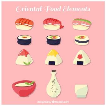 寿司片と東洋の要素