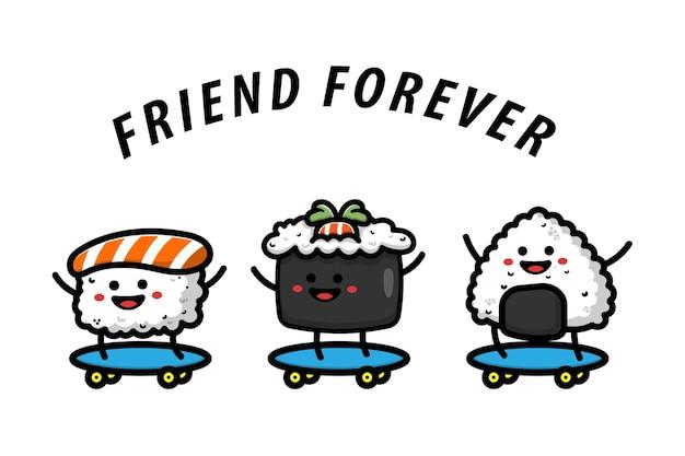 Sushi play skateboard vector illustration