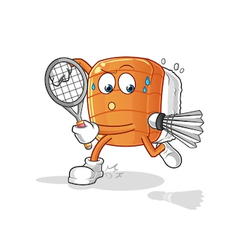 Sushi playing badminton illustration. character