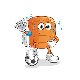 サッカーのイラストをする寿司。キャラクター