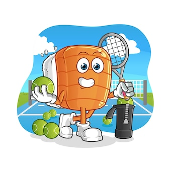 Sushi plays tennis illustration. character
