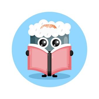 책을 읽는 스시 귀여운 캐릭터 로고