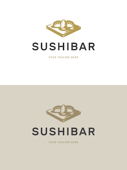 Sushi restaurant emblem logo template vector illustration.