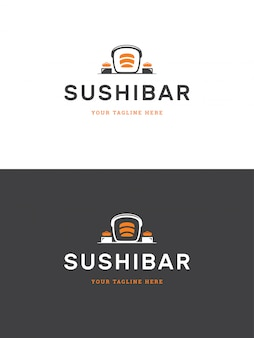 Sushi restaurant emblem logo template vector illustration.