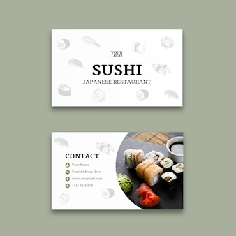 Sushi restaurant horizontal business card template