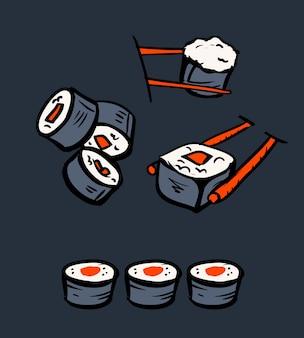 Набор иконок для ресторана суши