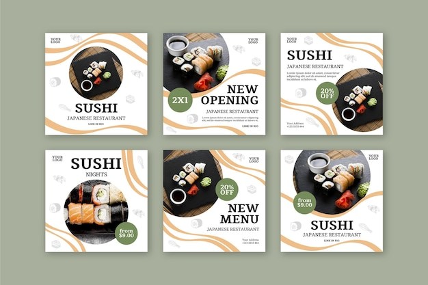 Sushi restaurant instagram post template