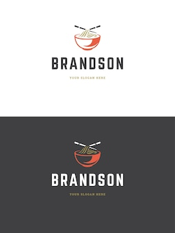 Sushi restaurant logo template illustration