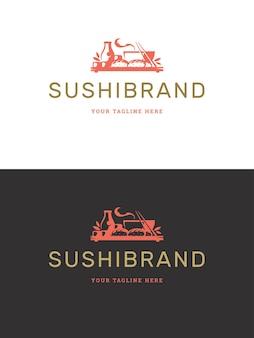 寿司レストランのロゴテンプレートイラスト