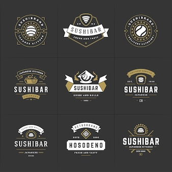 寿司レストランのロゴとバッジのセット