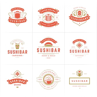 Sushi restaurant logos and badges set japanese food with sushi salmon rolls silhouettes vector