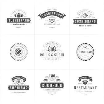 Sushi restaurant logos and badges set japanese food with sushi salmon rolls silhouettes