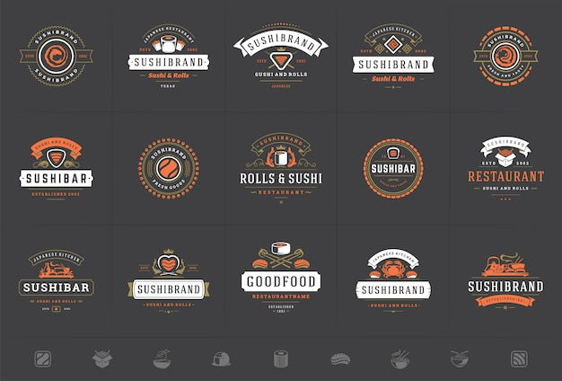 Sushi restaurant logos and badges set japanese food with sushi salmon rolls vector illustration