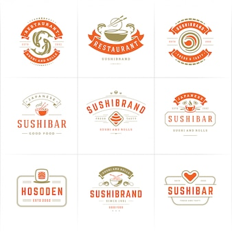 Sushi restaurant logos and badges set japanese food with sushi salmon rolls