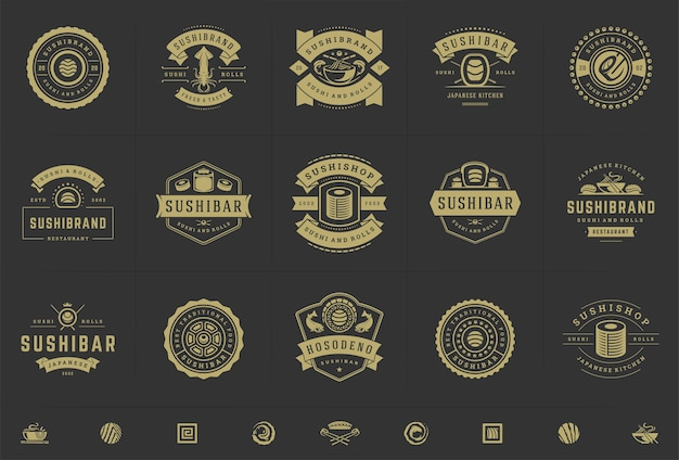 Sushi restaurant logos and badges set