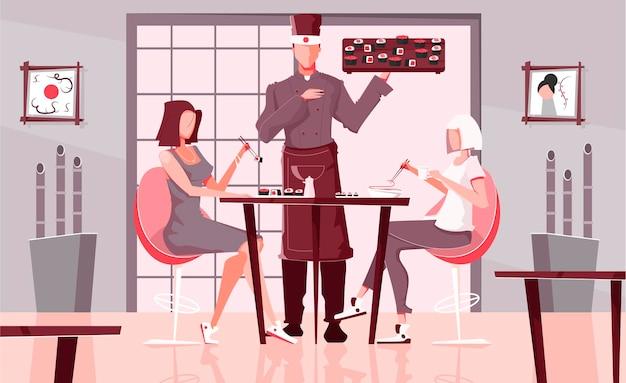 Люди суши-ресторана устанавливают плоскую композицию с внутренним видом на зал кафе азиатской кухни с людьми